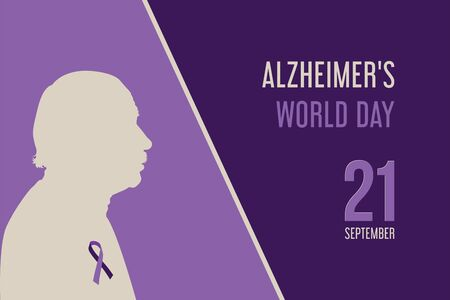 Elderly man isolated silhouette and text Alzheimer's world day September 21 on a purple background. Purple ribbon day. Archivio Fotografico - 149609995