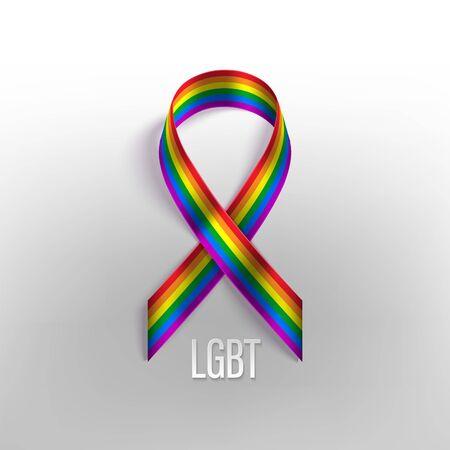 LGBT rainbow photo realistic vector ribbon Archivio Fotografico - 149828450