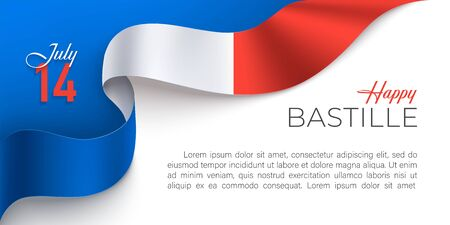 Bastille day celebration poster with blue, red, white color national flag of France on a white background with place for text. 14th July vector template design for websites, magazines. Vettoriali