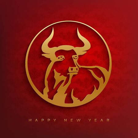 Stylized silhouette of a bull in a round frame. New year 2021  design. Red and gold papercut style.