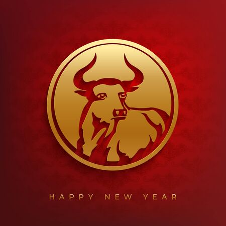 Stylized silhouette of a bull in a round frame. New year 2021 vector design. Red and gold papercut style. Archivio Fotografico - 150443325