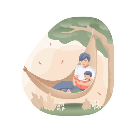 Father and son are reading a fairy tales in a hammock under a tree on background of abstract leaves and flowers with flying dragonflies. Summer family story in trendy flat design Vettoriali