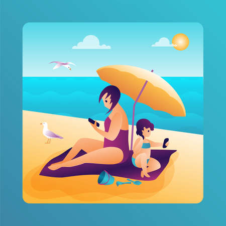 Mother and daughter on the beach under an umbrella with smartphones. Summer family story in trendy flat design. Vector illustration