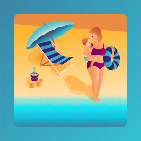 Mother holds the baby in her arms, rubber ring and go to swimming to sea. Deck chair, umbrella, bucket with a shovel in the sand. Summer family vacancy in trendy flat design. Vector illustration