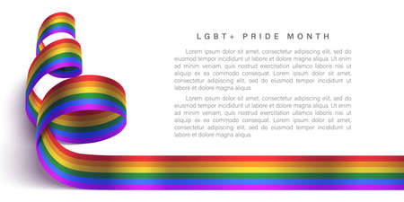 LGBT horizontal poster with photo realistic rainbow ribbon symbol of LGBT community. Template vector design for card, banner, poster. Recognising LGBT, equality and diversity of people.