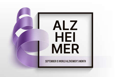 Alzheimer's world day horizontal vector poster with photorealistic purple ribbon, black frame and typography text Alzheimer on a light background. September is Alzheimer disease awareness month.