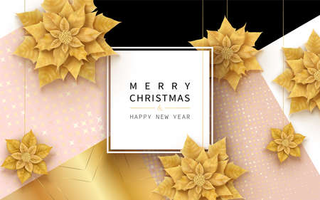 Merry Christmas and Happy New Year card horizontal banner with Christmas flowers Archivio Fotografico - 151454725