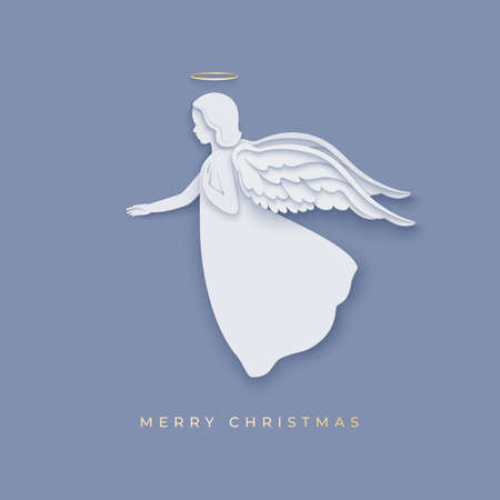 Merry Cristmas paper cut style card with angel