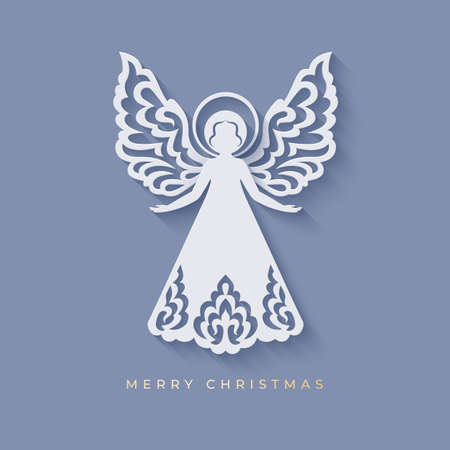 Beautiful angel with ornamental wings and nimbus in paper cut style with shadow