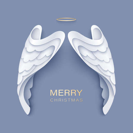 Merry Christmas paper cut card with white angel wings