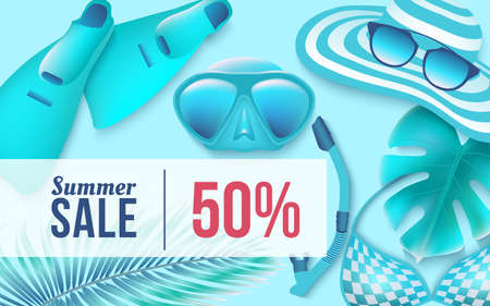 Summer sale horizontal banner with clothes for the beach and diving