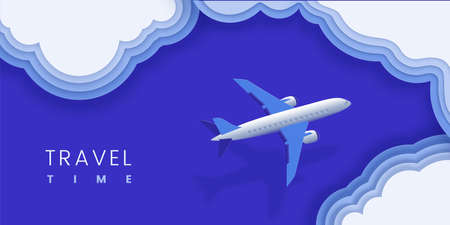 Summer travel template with place for text. Plane over sea, clouds vector illustration in trendy paper layer style.