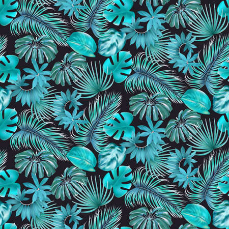 Tropical leaves seamless pattern Archivio Fotografico - 153291751