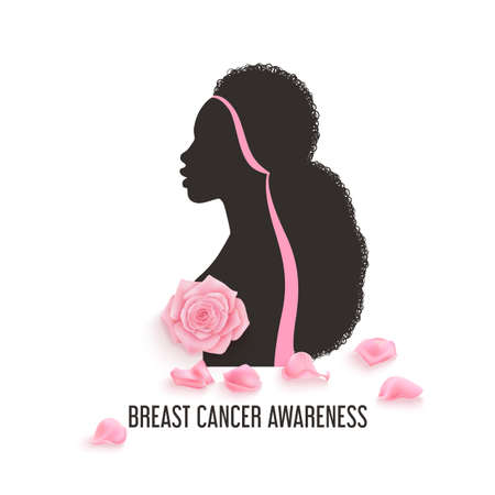 Breast cancer awareness month vector banner with photorealistic pink roses