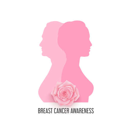 Breast cancer awareness month vector banner with elderly and young women