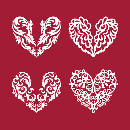 Hearts collection white on red