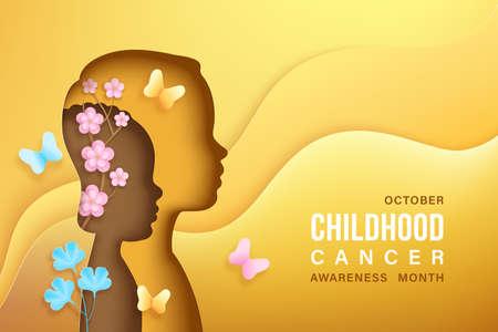Childhood cancer awareness vector banner Vettoriali