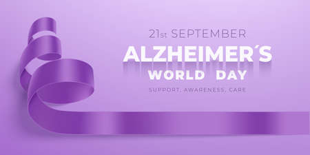 World Alzheimer s day banner with ribbon 向量圖像
