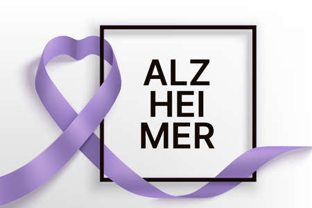 Alzheimer s day horizontal banner with ribbon and frame