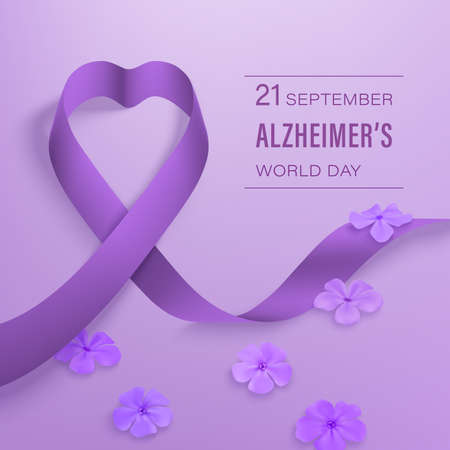Alzheimer s day banner with ribbon