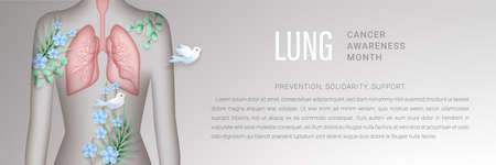 Lung cancer awareness month vector banner 向量圖像