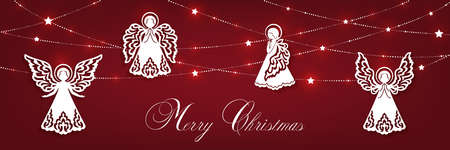 Merry Christmas greeting card with angels
