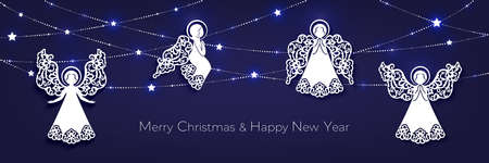 Merry Christmas and Happy New Year greeting card with angels 向量圖像