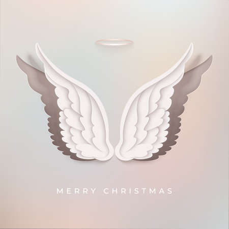 Merry Christmas greeting card with paper cut angel wings Archivio Fotografico - 156840377