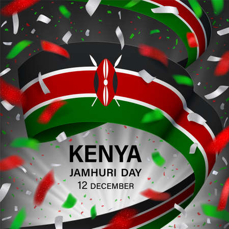 Kenya Jamhuri Day greeting card with ribbon and salute Archivio Fotografico - 157107968