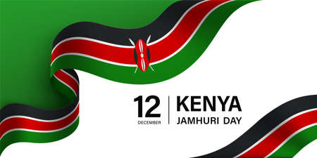 Kenya Jamhuri Day greeting card with ribbon and salute 向量圖像