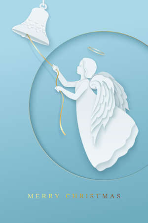 Merry Cristmas paper cut style vertical greeting card with angel Archivio Fotografico - 157680777