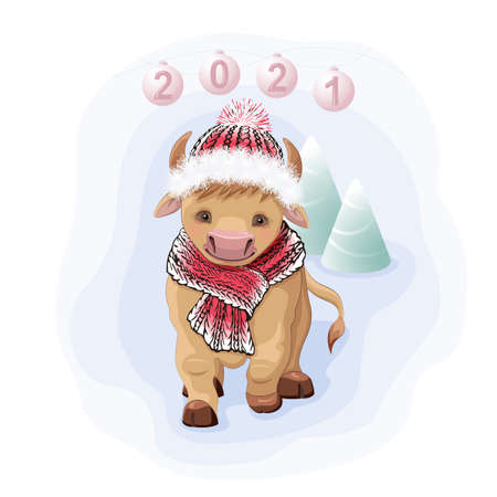 Cute Cartoon Bull in a knit cap and Christmas trees 向量圖像