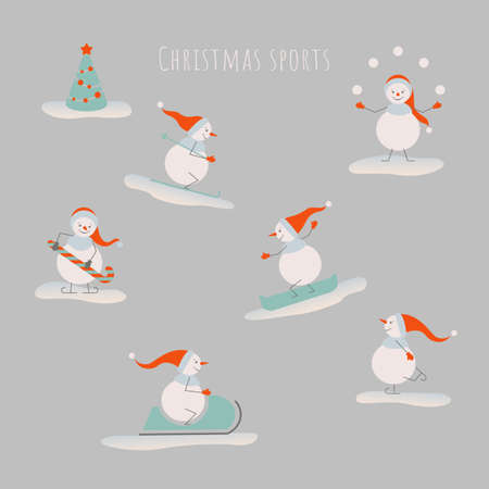 Snowmen sport collection. Vector illustration for Christmas design