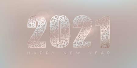 Happy new year 2021 elegant greeting card