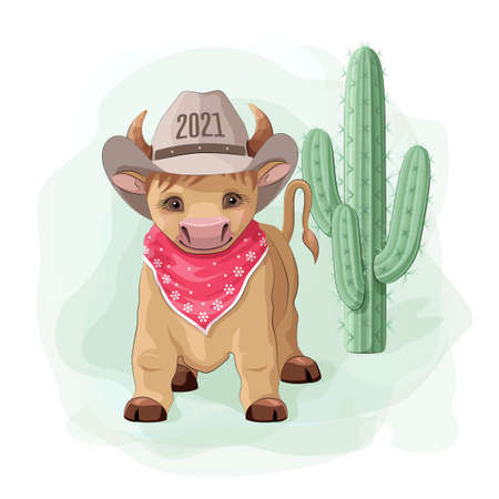 Cartoon cowboy bull with hat and cactus
