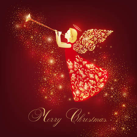 Merry Christmas design with vintage angel