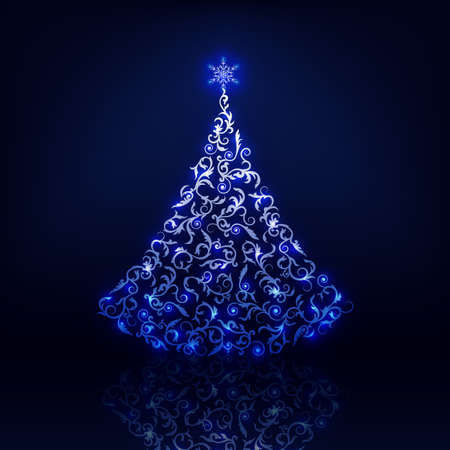 Ornamental Christmas tree with glow and reflect