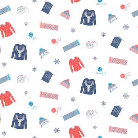 Seamless winter pantern handmade clothesB
