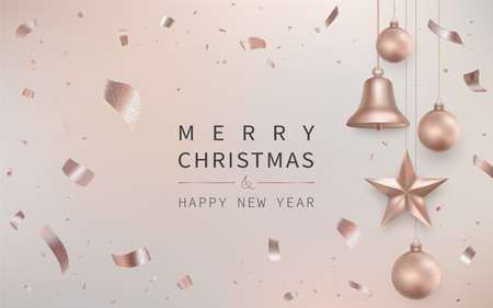 Merry Christmas and Happy New Year greeting card with christmas decoration Vettoriali