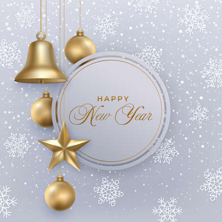 Happy New Year greeting card with Christmas decoration