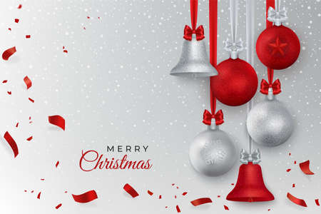 Merry Cristmas greeting card with Christmas decoration