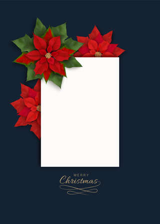 Merry Christmas greeting card with Christmas flowers and white blank for text