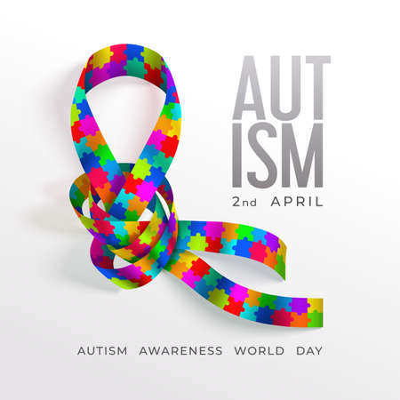 Autism awareness world day concept with photorealistic ribbon Vettoriali