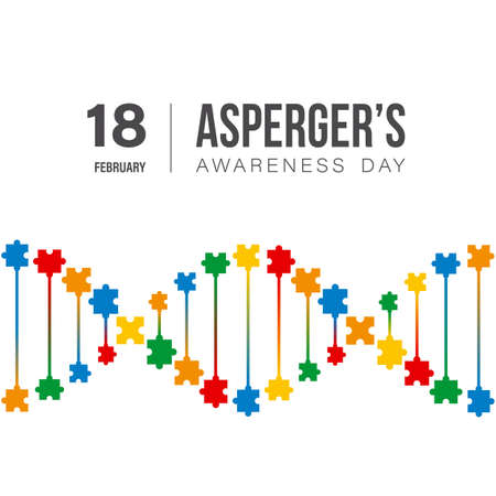 International Aspergers awareness day concept with multicolored shape of DNA with puzzle