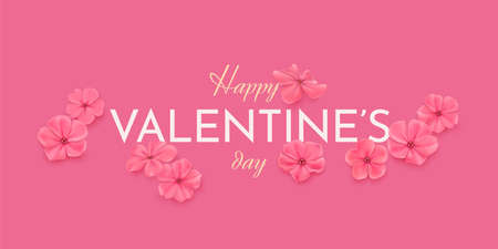 Valentines day horizontal greeting card with flowers
