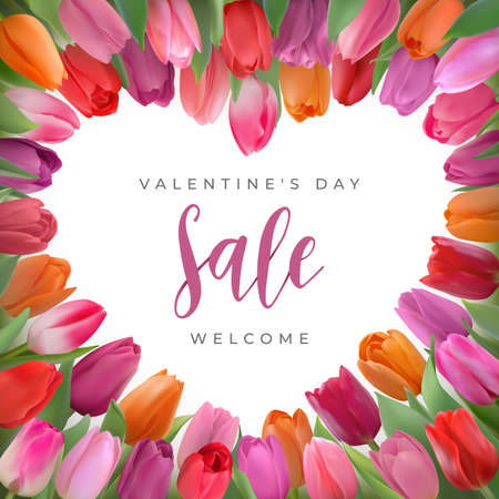 Valentines day sale card with tulips