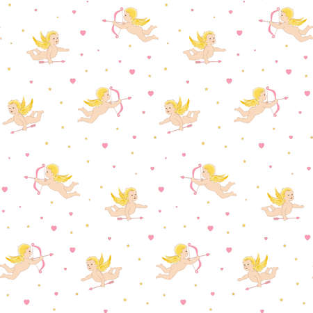 Seamless pattern with Cupids Vettoriali