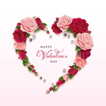 Valentines day greeting card with flowers