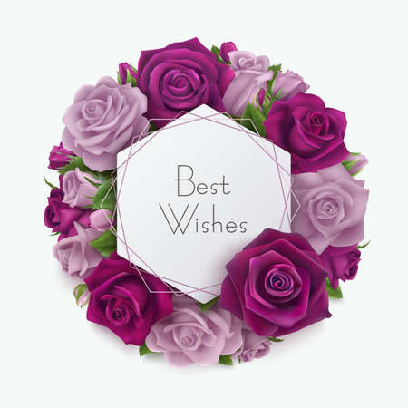 Best wishes greeting card with roses