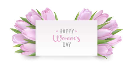 Happy Womens day greeting card with spring flowers Vettoriali